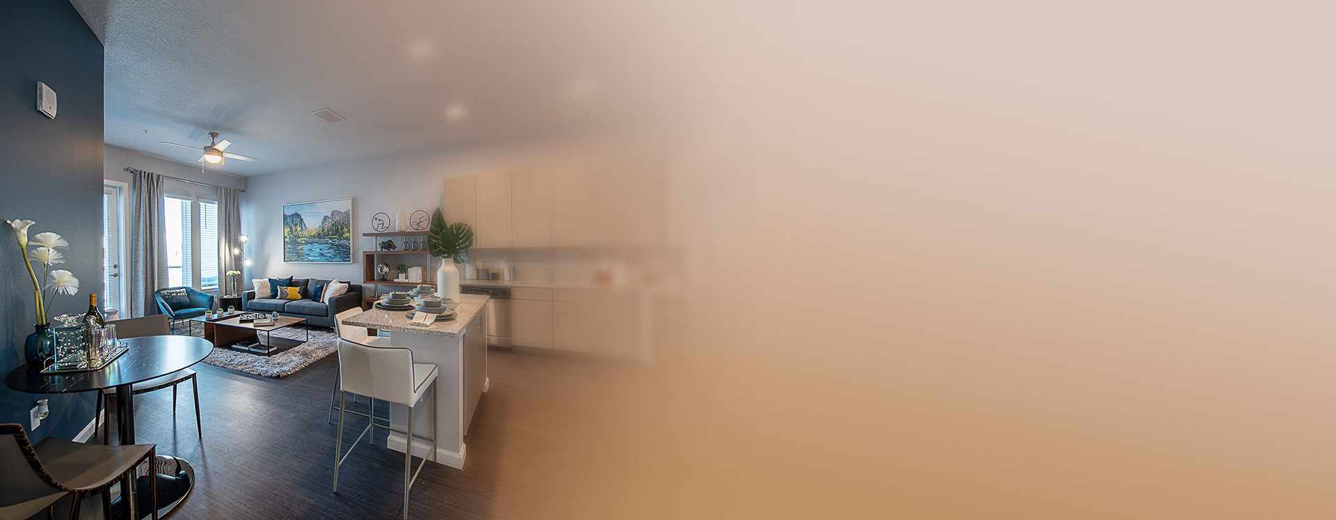 foyer and kitchen in the Pelican apartment at Sanctuary at CenterPointe apartments in Altamonte Springs FL